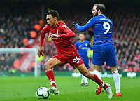 Liverpool's Trent Alexander-Arnold competes with Chelsea's Gonzalo Higuain<br /> <br /> Photographer Richard Martin-Roberts/CameraSport<br /> <br /> The Premier League - Liverpool v Chelsea - Sunday 14th April 2019 - Anfield - Liverpool<br /> <br /> World Copyright © 2019 CameraSport. All rights reserved. 43 Linden Ave. Countesthorpe. Leicester. England. LE8 5PG - Tel: +44 (0) 116 277 4147 - admin@camerasport.com - www.camerasport.com