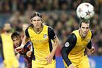 FC Barcelona's Neymar Santos Jr (l) and Atletico de Madrid's Filipe Luis (c) and Diego Godin during Champions League 2013/2014 match.April 1,2014. (ALTERPHOTOS/Acero)