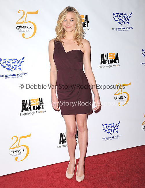 Yvonne Strahovski at The Humane Society of The United States celebration of The 25th Anniversary Genesis Awards in Beverly Hills, California on March 19,2011                                                                               © 2010 Hollywood Press Agency