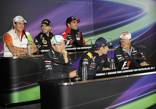 21 07 2011  Nico Rosberg Sebastian Vettel Michael Schumacher rear  Adrian Sutil Nick Heidfeld Timo Glock ger Formula 1 Nuerburgring GP Germany press conference