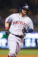 Bryce Brentz (25) of the Pawtucket Red Sox rounds the bases after hitting a 2-run home run in the top of the 9th inning against the Charlotte Knights at BB&T Ballpark on August 9, 2014 in Charlotte, North Carolina.  The Red Sox defeated the Knights  5-2.  (Brian Westerholt/Four Seam Images)