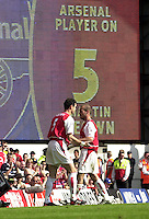 Photo. © Peter Spurrier/Intersport Images.15/05/2004  - 2003/04 Premiership Football - Arsenal v Leicester City:.Freddie Ljungberg [right] comes off, for Martin Keown to make his last appearance for Arsenal.[Credit] Peter Spurrier Intersport Images