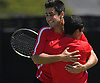 Eli Grossman, left, and Preet Rajpal of Syosset react after winning the Nassau County varsity boys tennis doubles final at Oceanside High School on Sunday, May 21, 2017. The duo bested Zachary Khazzam and Sangjin Song on Roslyn (not in picture) 7-6, 6-2 to claim the county doubles title.