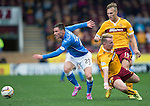 Motherwell v St Johnstone...30.08.14  SPFL<br /> Michael O'Halloran is taken out by Craig Reid<br /> Picture by Graeme Hart.<br /> Copyright Perthshire Picture Agency<br /> Tel: 01738 623350  Mobile: 07990 594431