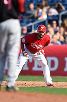 Philadelphia Phillies outfielder Darin Mastroianni (19) during an exhibition game against the University of Tampa on March 1, 2015 at Bright House Field in Clearwater, Florida.  University of Tampa defeated Philadelphia 6-2.  (Mike Janes/Four Seam Images)