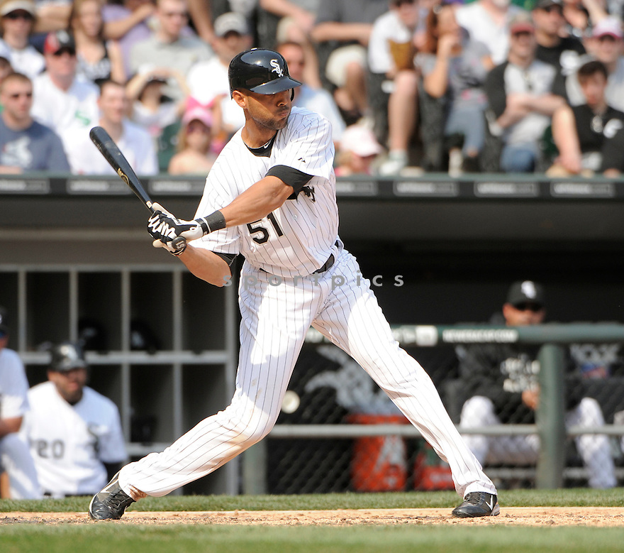 ALEX RIOS, of the Chicago White Sox , in actions during the White Sox game against the Tampa Bay Rays  at US Cellular Field on April 10, 2011.  The Chicago White Sox won the game beating the Tampa Bay Rays 6-1.