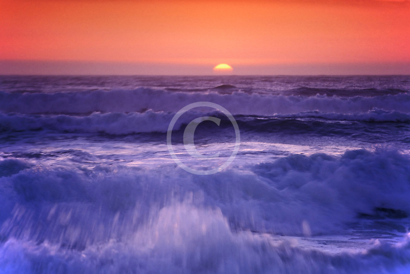 California, Pacific Ocean at sunset