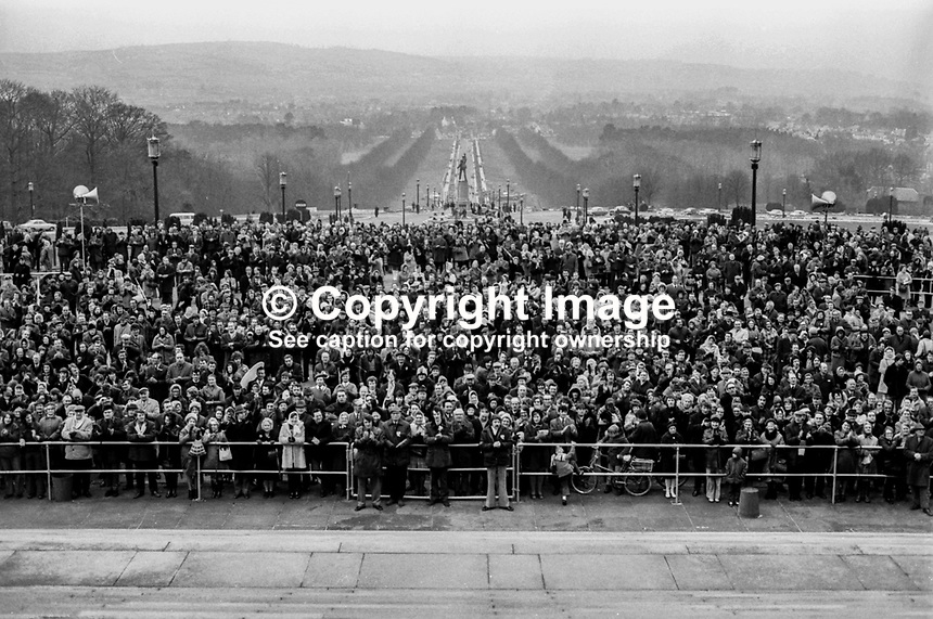 UUUC Victory Rally at front of Parliament Buildings, Stormont, N Ireland, 9th March 1974 which was addressed by the main political leaders.  197403095837<br /> <br /> Copyright Image from Victor Patterson, 54 Dorchester Park, <br /> Belfast, UK, BT9 6RJ<br /> <br /> t1: +44 28 9066 1296 (from Rep of Ireland 048 9066 1296)<br /> t2: +44 28 9002 2446 (from Rep of Ireland 048 9002 2446)<br /> m: +44 7802 353836<br /> <br /> e1: victorpatterson@me.com<br /> e2: victorpatterson@gmail.com<br /> <br /> www.victorpatterson.com<br /> <br /> Please see my Terms and Conditions of Use at VICTORPATTERSON.COM. It is IMPORTANT that you familiarise yourself with them.<br /> <br /> Images used on the Internet must be visibly watermarked i.e. &copy;VICTORPATTERSON.COM within the body of the image and copyright metadata must not be deleted. Images used on the Internet have a size restriction of 4kbs and are chargeable at the then current NUJ rates.<br /> <br /> This image is only available for the use of the download recipient i.e. television station, newspaper, magazine, book publisher, etc, and must not be passed on to any third party. It is also downloaded on condition that each and every usage is notified within 7 days to victorpatterson@me.com<br /> <br /> The right of Victor Patterson to be identified as the author is asserted in accordance with The Copyright Designs And Patents Act (1988).