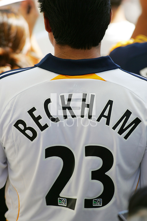 LA Galaxy David Beckham fan during the David Beckham, LA Galaxy press conference at the Home Depot Center in Carson, California, Friday, July 13, 2007.
