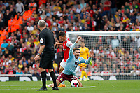 Jack Grealish of Aston Villa goes to ground during the Premier League match between Arsenal and Aston Villa at the Emirates Stadium, London, England on 22 September 2019. Photo by Carlton Myrie / PRiME Media Images.