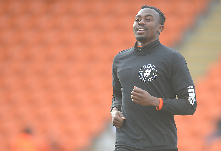 Blackpool's Joe Dodoo during the pre-match warm-up <br /> <br /> Photographer Kevin Barnes/CameraSport<br /> <br /> The EFL Sky Bet League One - Blackpool v Walsall - Saturday 9th February 2019 - Bloomfield Road - Blackpool<br /> <br /> World Copyright &copy; 2019 CameraSport. All rights reserved. 43 Linden Ave. Countesthorpe. Leicester. England. LE8 5PG - Tel: +44 (0) 116 277 4147 - admin@camerasport.com - www.camerasport.com
