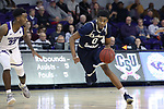 HIGH POINT, NC - JANUARY 06: Charleston Southern's Jamaal David (0) and High Point's Andre Fox (22). The High Point University of Panthers hosted the Charleston Southern University Buccaneers on January 6, 2018 at Millis Athletic Convocation Center in High Point, NC in a Division I men's college basketball game. HPU won the game 80-59.