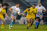 24th November 2019; AJ Bell Stadium, Salford, Lancashire, England; European Champions Cup Rugby, Sale Sharks versus La Rochelle; Rohan Janse van Rensburg of Sale Sharks drops the ball as he picks up speed on a run - Editorial Use