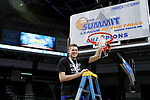 SIOUX FALLS, SD: MARCH 7: MVP Mike Daum from South Dakota State University hoists the net following the Jackrabbits 79-77 win over Omaha in the Men's Summit League Basketball Championship Game on March 7, 2017 at the Denny Sanford Premier Center in Sioux Falls, SD. (Photo by Dave Eggen/Inertia)