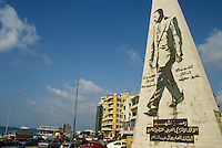 Statue of the former president with Corniche Avenue, Minet El Hosn, Beirut, Lebanon.