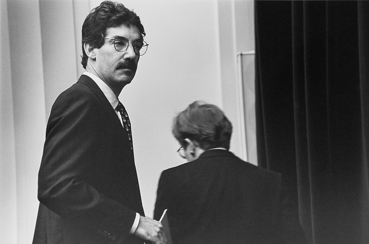 Independent Counsel James M. Cole, prepares to leave the Ethics Committee for a few minutes with Ethics Chairman Rep. Nancy Johnson, on Jan. 17, 1997. (Photo by Maureen Keating/CQ Roll Call via Getty Images)