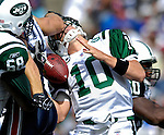 30 September 2007: New York Jets quarterback Chad Pennington is sacked during game action against the Buffalo Bills at Ralph Wilson Stadium in Orchard Park, NY. The Bills defeated the Jets 17-14 handing the Jets their third loss of the season...Mandatory Photo Credit: Ed Wolfstein Photo