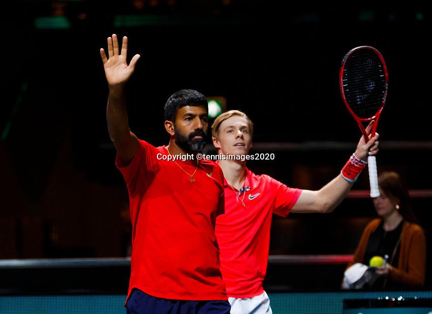 Rotterdam, The Netherlands, 9 Februari 2020, ABNAMRO World Tennis Tournament, Ahoy, Doubles: Rohan Bopanna (IND) and Denis Shapovalov (CAN).<br /> Photo: www.tennisimages.com