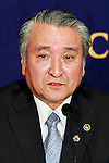 Takenori Noda, Mayor of Kamaishi in Iwate speaks at the Foreign Correspondents' Club of Japan on March 1, 2016, in Tokyo, Japan. Mayor Noda spoke the reconstruction of Kamaishi which was one of the cities badly affected by the Great East Japan Earthquake and Tsunami on March 11, 2011. Noda has been Mayor of Kamaishi since 2007. (Photo by Rodrigo Reyes Marin/AFLO)