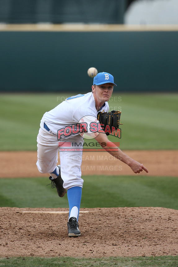 Scott Burke (10) of the of UCLA Bruins pitches against the University of San Diego Toreros at Jackie Robinson Stadium on March 4, 2017 in Los Angeles, California.  USD defeated UCLA, 3-1. (Larry Goren/Four Seam Images)