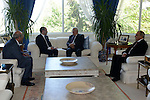 Palestinian President Mahmoud Abbas meets with Jordan's Prince Ali bin al-Hussein in Amman on June 2, 2015. Sepp Blatter won the FIFA presidency last week when his challenger, the Jordanian Prince, withdrew after the first round of voting. Palestine, which has been a FIFA member since 1998, had recently wanted the governing body to expel Israel over its restrictions on the movement of Palestinian players. Photo by Thaer Ganaim