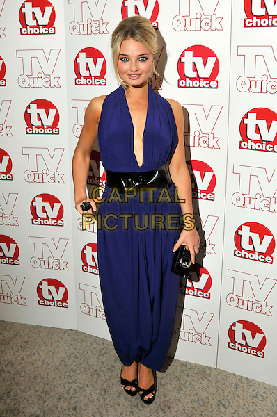 EMMA RIGBY .attending the TV Quick & TV Choice Awards held at The Dorchester hotel,  in London, England, September 7th 2009..arrivals full length halterneck blue purple low cut plunging neckline black patent bow waist belt open toe shoes long maxi  hand on hip jumpsuit catsuit .CAP/PL.©Phil Loftus/Capital Pictures