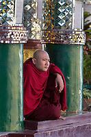 Myanmar, (Burma), Yangon Region, Rangoon: Buddhist Monk at the Shwedagon pagoda | Myanmar (Birma), Yangon-Division, Rangun: Buddhistischer Moench in der Shwedagon Pagode