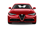 Car photography straight front view of a 2017 Alfa Romeo Guilia Auto 4 Door Sedan