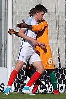 George Hirst of England being closely marked during England Under-18 vs Ivory Coast Under-20, Toulon Tournament Final Football at Stade de Lattre-de-Tassigny on 10th June 2017