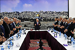 Palestinian President Mahmoud Abbas, chairs Palestinian leadership meeting, in the West Bank city of Ramallah, on October 6, 2019. Photo. Photo by Thaer Ganaim