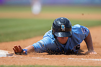 Cody Jones (12) of the Wilmington Blue Rocks dives back towards first base during the game against the Winston-Salem Dash at BB&T Ballpark on June 5, 2016 in Winston-Salem, North Carolina.  The Dash defeated the Blue Rocks 4-0.  (Brian Westerholt/Four Seam Images)