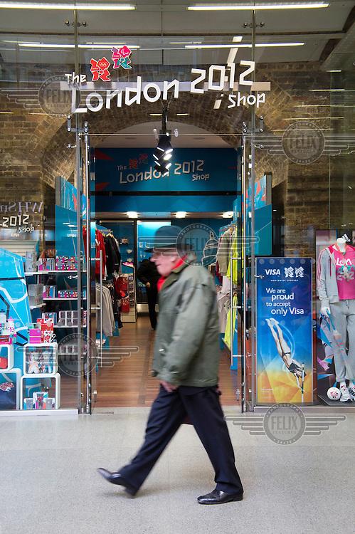 The London 2012 official merchandise shop at St Pancras International Station, London.