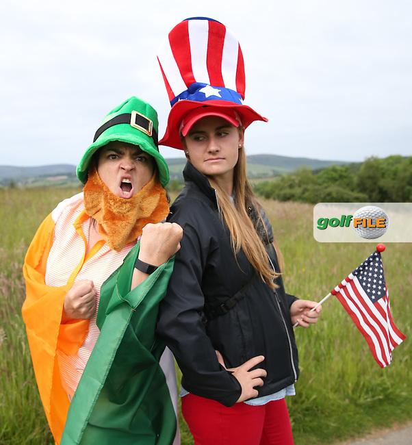 Ailish McCurtin (IRL) and Catherine Gimm (USA) enact &quot;Let Battle Commence!&quot;, during Friday Foursomes at the 2016 Curtis Cup, played at Dun Laoghaire GC, Enniskerry, Co Wicklow, Ireland. 10/06/2016. Picture: David Lloyd | Golffile. <br /> <br /> All photo usage must display a mandatory copyright credit to &copy; Golffile | David Lloyd.
