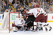 John Gravallese, John Muse (BC - 1), Drew Ellement (Northeastern - 2), Pat Mullane (BC - 11), Justin Daniels (Northeastern - 11), Randy Guzior (Northeastern - 13), Tommy Cross (BC - 4), Patrick Wey (BC - 6) - The Boston College Eagles defeated the Northeastern University Huskies 5-4 in their Hockey East Semi-Final on Friday, March 18, 2011, at TD Garden in Boston, Massachusetts.