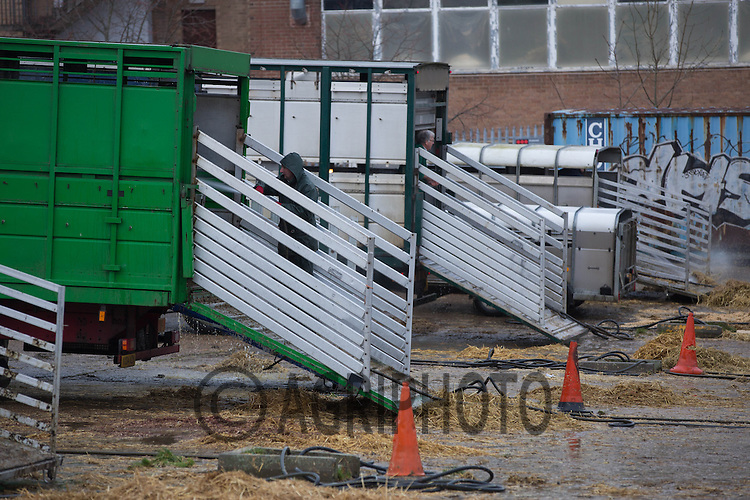 Lorries and trailers washing out in a livestock market<br /> Picture Tim Scrivener 07850 303986<br /> <br /> Bio security