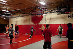 Wrestling practice for the middle and high schoolers at Cardinal High School in Middlefield, Ohio.