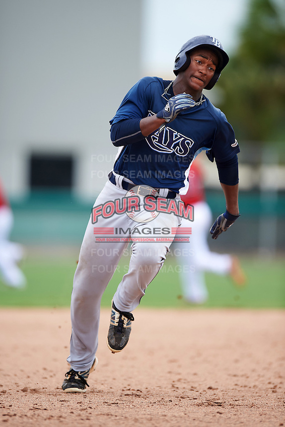 GCL Rays left fielder Ryan Caldwell (9) running the bases during the second game of a doubleheader against the GCL Red Sox on August 9, 2016 at JetBlue Park in Fort Myers, Florida.  GCL Rays defeated GCL Red Sox 9-1.  (Mike Janes/Four Seam Images)