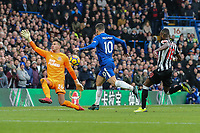 Eden Hazard of Chelsea shoots during the Premier League match between Chelsea and Newcastle United at Stamford Bridge, London, England on 2 December 2017. Photo by David Horn.