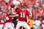 Ryan Finley (15) of the North Carolina State Wolfpack passes the ball during second half action against the South Carolina Gamecocks in the Belk College Kickoff at Bank of America Stadium on September 2, 2017 in Charlotte, North Carolina.  The Gamecocks defeated the Wolfpack 35-28.  (Brian Westerholt/Four Seam Images)