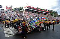 Jun. 17, 2011; Bristol, TN, USA: NHRA funny car driver Tony Pedregon during qualifying for the Thunder Valley Nationals at Bristol Dragway. Mandatory Credit: Mark J. Rebilas-