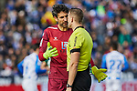 Diego Lopez of RCD Espanyol have words with the referee during La Liga match between CD Leganes and RCD Espanyol at Butarque Stadium in Leganes, Spain. December 22, 2019. (ALTERPHOTOS/A. Perez Meca)