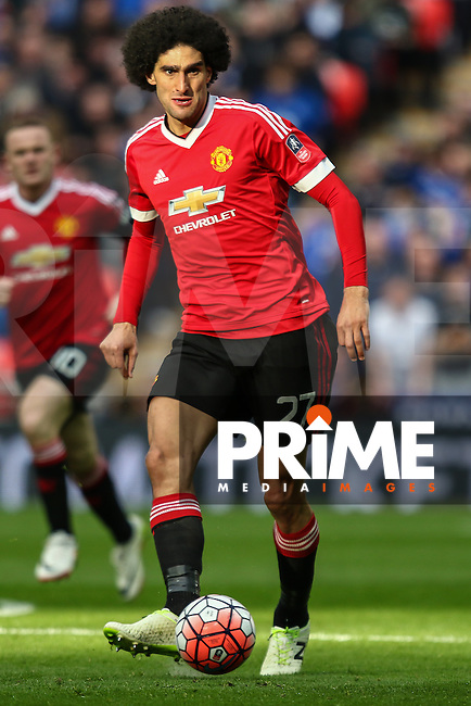 Marouane Fellaini of Manchester United during the FA Cup Semi-Final match between Everton and Manchester United at Wembley Stadium, London, England on 23 April 2016. Photo by David Horn / PRiME Media Images.