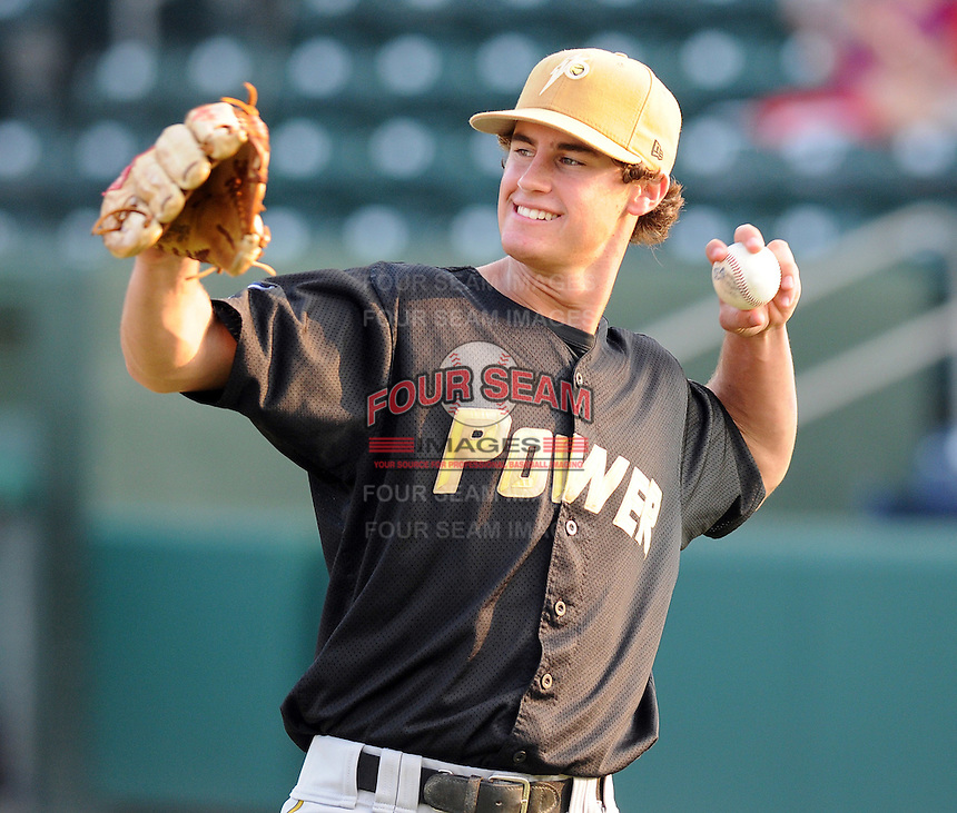 August 18, 2008: Outfielder Logan Schafer (35) of the West Virginia Power, Class A affiliate of the Milwaukee Brewers, at a game against the Greenville Drive at Fluor Field at the West End in Greenville, S.C. Photo by:  Tom Priddy/Four Seam Images