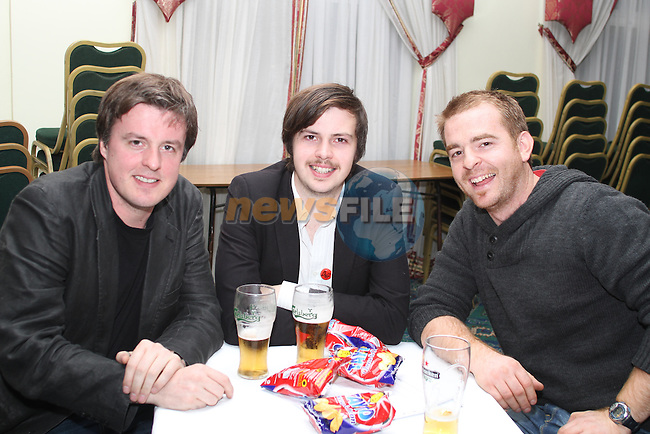Cathal and John Synott with TJ Doyle at the quiz in aid of Niall Mellon Building Project in the Boyne Valley Hotel...(Photo credit should read Jenny Matthews www.newsfile.ie)....This Picture has been sent you under the condtions enclosed by:.Newsfile Ltd..The Studio,.Millmount Abbey,.Drogheda,.Co Meath..Ireland..Tel: +353(0)41-9871240.Fax: +353(0)41-9871260.GSM: +353(0)86-2500958.email: pictures@newsfile.ie.www.newsfile.ie.