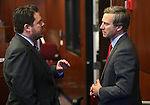 Nevada Senate Republicans Michael Roberson, left, and Greg Brower talk on the Senate floor at the Nevada Legislature in Carson City, Nev., on Monday, March 4, 2013..Photo by Cathleen Allison