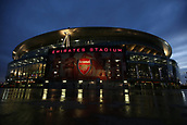 7th December 2017, Emirates Stadium, London, England; UEFA Europa League football, Arsenal versus BATE Borisov; General view of Emirates Stadium as the sun sets