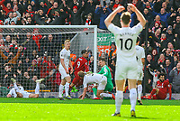 Burnley players react after Liverpool's Roberto Firmino slotted his side's third<br /> <br /> Photographer Alex Dodd/CameraSport<br /> <br /> The Premier League - Liverpool v Burnley - Sunday 10th March 2019 - Anfield - Liverpool<br /> <br /> World Copyright © 2019 CameraSport. All rights reserved. 43 Linden Ave. Countesthorpe. Leicester. England. LE8 5PG - Tel: +44 (0) 116 277 4147 - admin@camerasport.com - www.camerasport.com