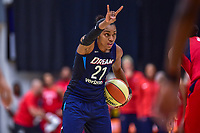 Washington, DC - August 31, 2018: Atlanta Dream guard Renee Montgomery (21) calls out a play during semi finals playoff game between Atlanta Dream and Wasington Mystics at the Charles Smith Center at George Washington University in Washington, DC. (Photo by Phil Peters/Media Images International)