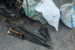 Confiscated poaching tools, including spears and axes, by anti-poaching team, Kafue National Park, Zambia