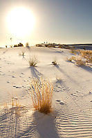 Setting sun at White Sands National Monument in New Mexico.